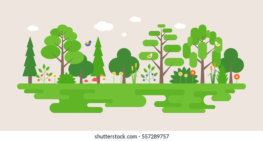 Info graphic and elements of natural forest landscapes, flat design vector illustration