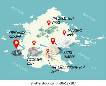 info graphic illustration vector isometric design concept of Wonders of the World on world map: Colosseum, Great Wall, Petra, Taj Mahal, Great Pyramid of Giza, stonehenge