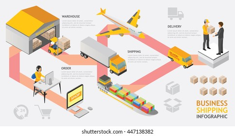 info graphic isometric shipping service vector design