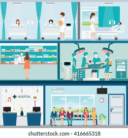Info graphic of Medical hospital surgery operation room with doctors and patients  and post-operation ward, interior building, health care conceptual vector illustration.