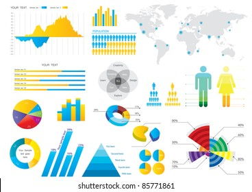 Info graphic set with colorful charts. Vector illustration.