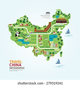 Info graphic travel and landmark china map shape template design. country navigator concept vector illustration / graphic or web design layout.