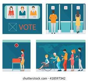 Info graphic of Voting booths with people waiting in line for Voting at Ballot Box, Vote ballot with box,each layers separated easy to use. vector illustration.
