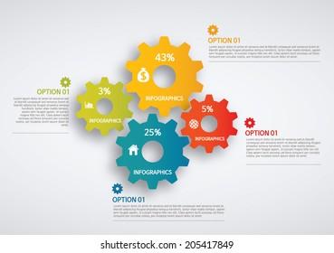 info graphics - colorful graph, gear