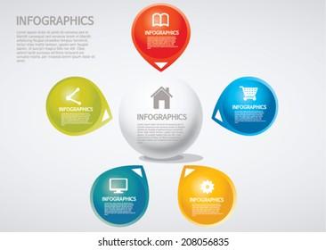 info graphics - five, section, Venn diagram