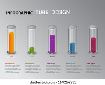 Info graphics glass tubes. Business Info graphics.
