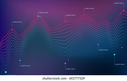 Info graphics line chart on a dark background, the dots of events time scale