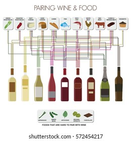 Info graphics of pairing food and the most common wines
