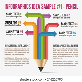 Info graphics pencil  idea sample 1,  vector illustration, can be used as a workflow layout.