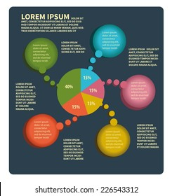 Info graphics pie chart  with circles