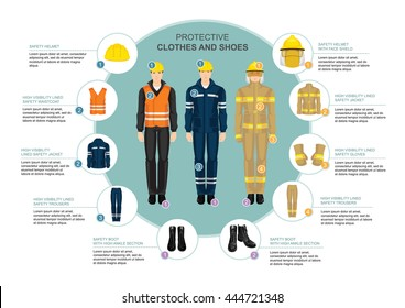 Info graphics with professional work wear for hard-working people. Safety clothes, shoes and helmet.
