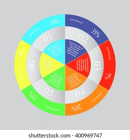 Info graphics step by step. Abstract pie chart, graph, diagram with 6 steps, options, parts, processes. Vector business template for presentation and training.