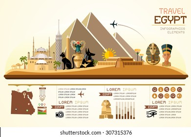Info graphics travel and landmark egypt template design. Concept Vector Illustration