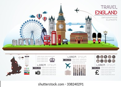 Info graphics travel and landmark england template design. Concept Vector Illustration