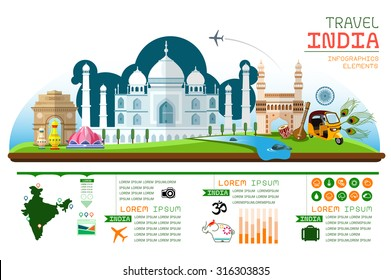 Info graphics travel and landmark India template design. Concept Vector Illustration