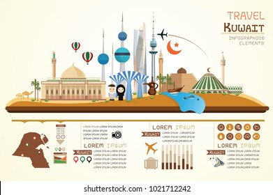 Info graphics travel and landmark kuwait template design. Concept Vector Illustration