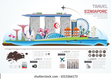 Info graphics travel and landmark singapore template design. Concept Vector Illustration.