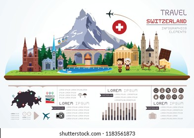 Info graphics travel and landmark Switzerland template design. Vector Illustration