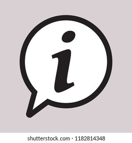 Info icon, Information sign icon. Info speech bubble symbol. i letter vector.