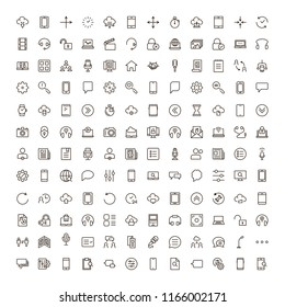 Info icon set. Collection of high quality outline technology pictograms in modern flat style. Black information symbol for web design and mobile app on white background. Help line logo.