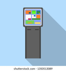 Info payment kiosk icon. Flat illustration of info payment kiosk vector icon for web design