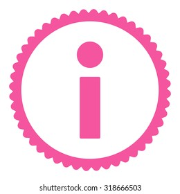 Info round stamp icon. This flat vector symbol is drawn with pink color on a white background.