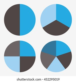info template pie blue and black charts with 2, 3, 4, 5 steps