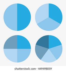 info template pie blue charts with 2, 3, 4, 5 steps vector