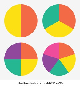 info template pie charts with 2, 3, 4, 5 steps