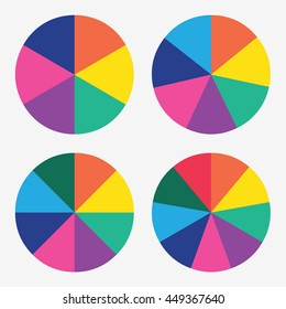 info template pie charts with 6, 7, 8, 9 steps