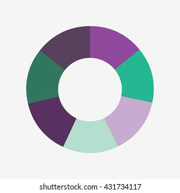 info template pie purple and green charts with 7 steps, info template vector, pie chart vector