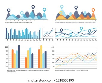 Infochart with data, flowchart visual information representation vector. Diagrams and schemes, charts with falling and growing lines design results