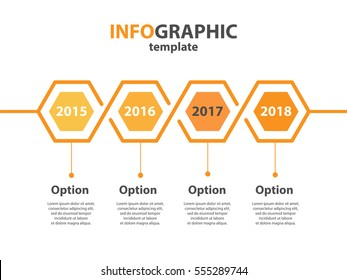 Infogaphic timeline diagram. Progressive years template. Honeycomb polygon form. Vector EPS 10