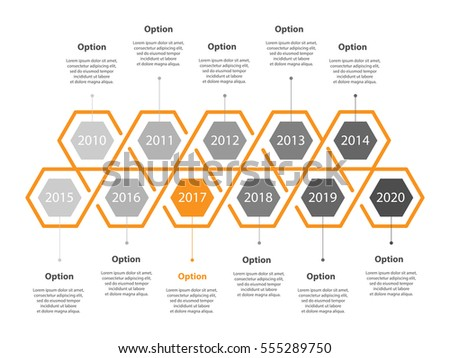 Infogaphic Timeline Diagram Progressive Years Template Stock Vector