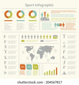 Infografic athletics sport achievements development and competitions winners statistics presentation diagrams layout template design vector illustration