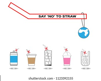 Infograpgic all glass of water and coffee with waord and sign no straw for save the world concept.