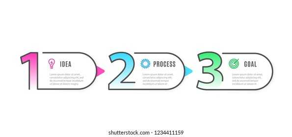 Infograph 3 steps elements. Business Infographic template with icons and 3 options. Graphic timeline process. Vector illustration.
