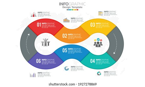 Infograph 6 steps circle element with number and chart diagram, business graph design.