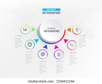 infograph 6 steps element, diagram process with centre circle. Graphic chart diagram, business timeline graphic design in bright rainbow color with icons. Vector illustration.