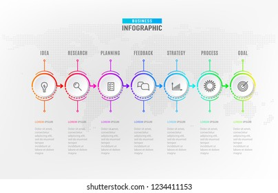 Infograph steps element. Circle graphic chart diagram, business timeline graphic design in rainbow color with icons and signs. Vector illustration.