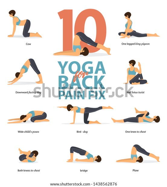 Infographic 10 Yoga Poses Back Pain Stock Vector Royalty Free 1438562876