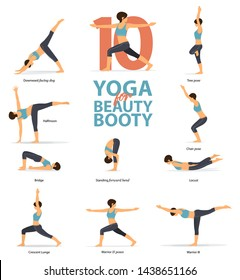 Infographic of 10 Yoga poses for Beauty booty in flat design. Beauty woman is doing exercise for booty blaster. Set of yoga postures female figures Infographic . Vector Illustration.