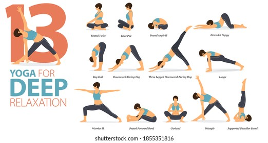 Infographic 13 Yoga poses for workout in concept of Deep Relaxation in flat design. Women exercising for body stretching. Yoga posture, asana for fitness infographic. Flat Cartoon Vector Illustration