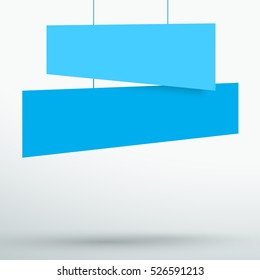 Infographic 2 Blue Title Boxes Hanging 3d Vector