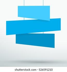 Infographic 3 Blue Title Boxes Hanging 3d Vector