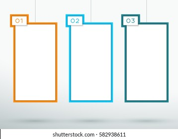 Infographic 3 Numbered 3d Hanging Text Boxes Vector