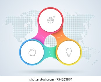 Infographic 3 Point Business Diagram With World Map