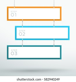Infographic 3 Step Colourful Hanging Text Banners A