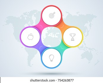 Infographic 4 Point Business Diagram With World Map