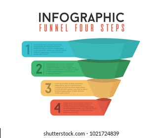 INFOGRAPHIC 4 POSITIONS STEPS BUSINESS FUNNEL